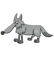 gray wolf animal character cartoon vector image vector image