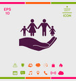 hand holding a symbol of family family protect vector image vector image