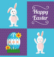 happy easter banners cute rabbits vector image