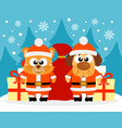happy new year card with cat and dog santa claus vector image vector image