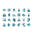 internet things line and fill icons set vector image vector image