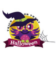 logo owl in halloween costume witch mystery vector image vector image