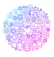 machine learning line icon circle design vector image vector image