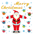 Merry Christmas with Santa Claus and gifts vector image vector image