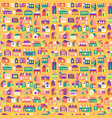 pattern with colorful houses on yellow vector image vector image