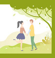 people in love under tree dating teenagers vector image