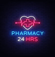 pharmacy neon sign pharmacy 24 hours vector image