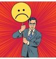 Policy protester poster sad emoticon vector image vector image