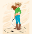 portrait a cowgirl vector image