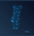 portugal map with cities luminous dots - neon vector image
