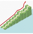 Rising graph and money vector image vector image