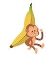 serious monkey with banana cartoon icon vector image vector image