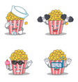 set of popcorn character with sailor fitness ice vector image vector image