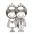 silhouette girl and boy standing with crown vector image vector image