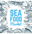 sketch fish and seafood background hand drawn vector image