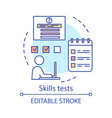 skills tests concept icon vector image vector image