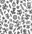 Summer flowers butterflies and beetles black vector image