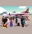 tourists boarding on a plane vector image vector image
