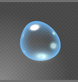 transparent realistic soap bubble with glares and vector image