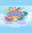 trendy gradient cuted paper style summer vector image