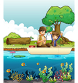 Two men fishing vector image vector image