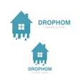 water and drop house logo vector image vector image