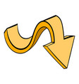 yellow wavy arrow icon icon cartoon vector image vector image