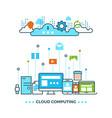 digital cloud computing computer data storage vector image