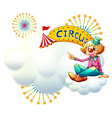 A clown near the yellow circus signage vector image