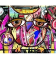 abstract digital painting artwork of doodle owl vector image vector image