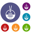 black friday sale tag icons set vector image vector image