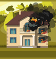 blazing house burning with fire vector image vector image