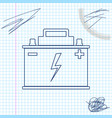 car battery line sketch icon isolated on white vector image vector image