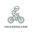 child riding a bike line icon child vector image
