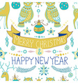 Christmas background with cute decorations and vector image vector image