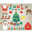 Christmas set with decoration elements Hand drawn vector image