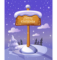 Christmas sign board on winter background vector image vector image