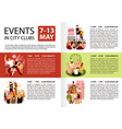 city clubs events infographics vector image vector image