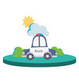 colorful police car service with cloud and sun vector image vector image