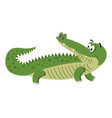 cute cartoon crocodile in natural pose isolated vector image vector image