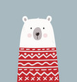 cute hand drawn polar bear in red sweater vector image vector image