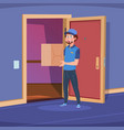 delivery guy in home door boy deliver handing box vector image