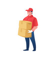 delivery worker cartoon courier with parcels vector image