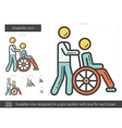 Disability line icon vector image vector image