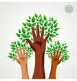 Diversity hands green concept tree vector image vector image