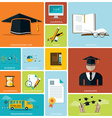 Education And Graduation Flat Icon Set vector image