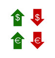 euro and dollar icons up and down vector image