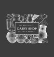 farm food design template hand drawn dairy on vector image vector image