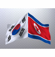 flags of south korea and north korea vector image
