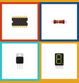 flat icon electronics set of resistance receiver vector image vector image